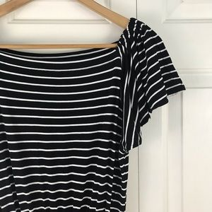 Ann Taylor LOFT Black & White Stripe Dress Medium